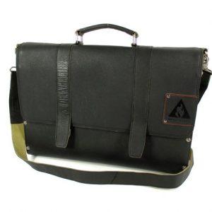 f62dceaede9 leren Laptoptas 15,6 inch handtas schoudertas met hout zwart