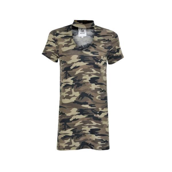 adc28eb8cfe LA SISTERS Choker Camo T-shirt Dress - Trendsmode.nl